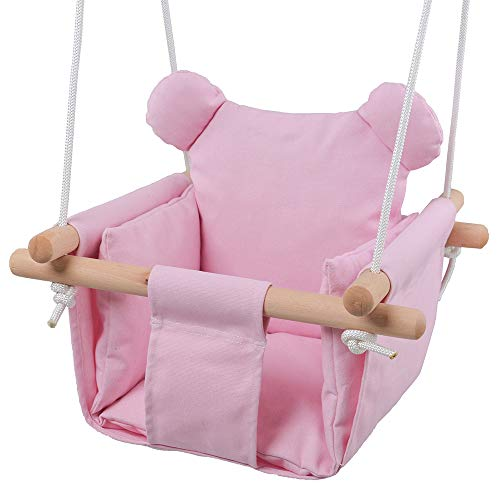 Jozeit Baby Kids Toddler Canvas Swing Seat Chair – with Cushion – Bear Ear Decor (Pink)