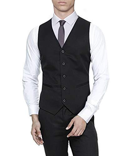 Mens 5 button Waistcoat Black