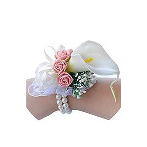 alerghrg Lily Flower Wedding Bridesmaid Braclet Prom Flower Bracelet Wedding Corsage Hand Wedding Wrist Corsage 24