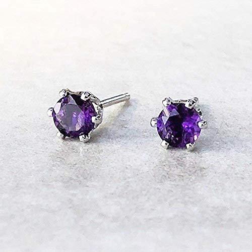 Purple Amethyst Gemstone Sterling Silver Stud Earrings - February Birthstone Jewelry Gift for Women