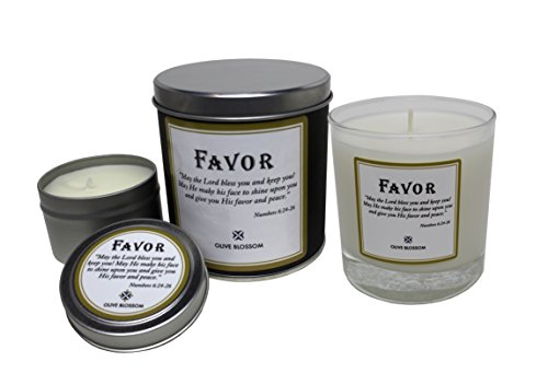 Favor Candles Olive Blossom May The Lord Bless You and Keep You - Full Sized & Travel Sized Candles Package