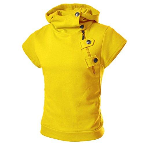 - zitan Hoodies for Men Lightweight Half Zip Hoodie Hooded Sweatshirt Solid Men's Short-Sleeved T-Shirt Blouse Yellow