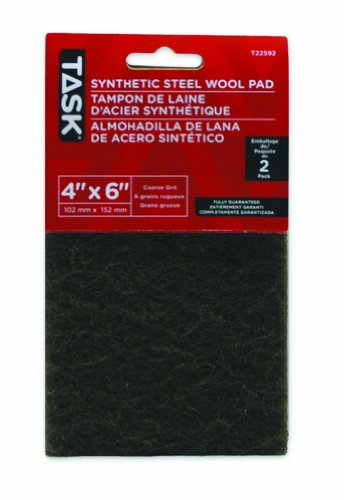 Synthetic Steel Wool (Task Tools T22592 4-Inch by 6-Inch Synthetic Steel Wool Pad, Coarse, Green, 2-Pack)