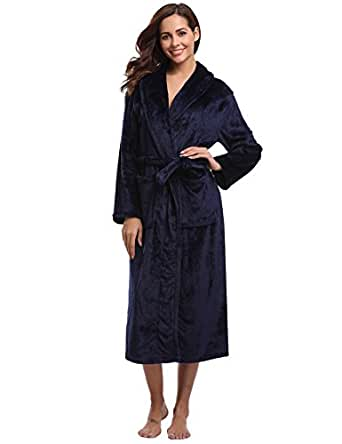 aibrou women 39 s plush soft warm coral fleece bathrobe robes at amazon women s clothing store. Black Bedroom Furniture Sets. Home Design Ideas