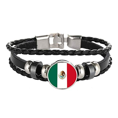 YOUMIYA 2018 World Cup Adjustable Faux Leather Cuff Bracelet National Flag Punk Jewelry (Mexico) ()