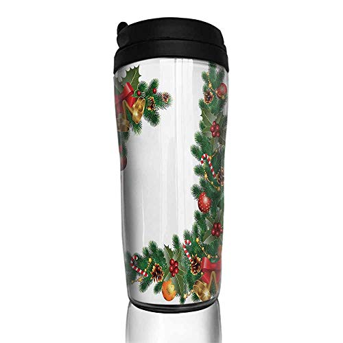 coffee cups for mom and dad Christmas,Noel Ornaments Themed Fir Tree with Ornaments Classical New Year Concept Print,Multicolor 12 oz,metal cup for coffee