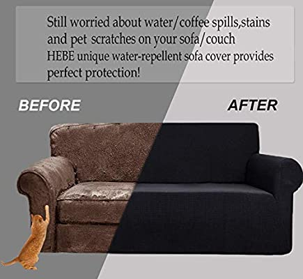Stupendous Hebe Black Couch Cover Sofa Cover Water Resistant 1 Piece High Stretch Sofa Slipcover Dog Cat Pet Proof Couch Cover Protector For 3 Cushion Leather Pabps2019 Chair Design Images Pabps2019Com
