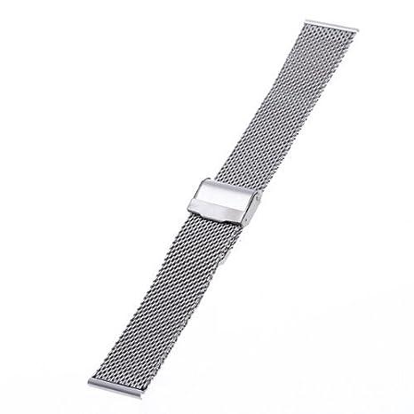 Pulsera Correa de Acero Plateado Repuesto para Reloj Nuevo 22mm: Amazon.es: Relojes