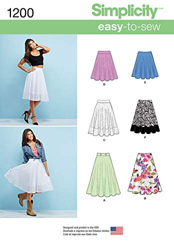 Simplicity 1200 3/4 Circle Skirt Sewing Pattern for Women With Various Length, Sizes 14-22
