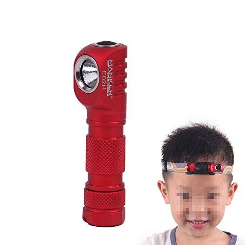 Manker E02H LED Headlamp Flashlight, 220 Lumen Angle Head light with Headband, Multi Functional EDC AAA Flashlight with Cree XPG3 LED, Reversible Clip & Magnet Base (Manker E02H Red CREE XPG3)