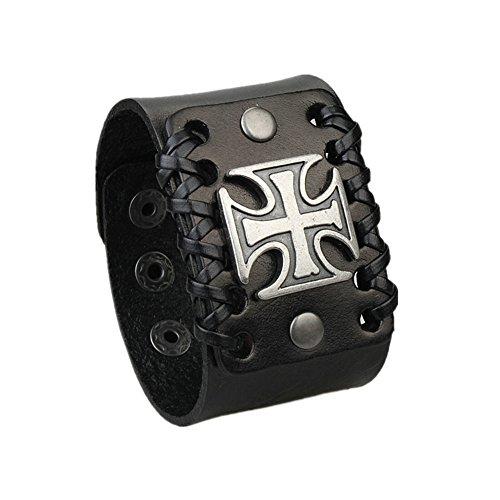 Jenia Cross Handmade Genuine Leather Cuff Bracelet Mens Wrap Bangle Black