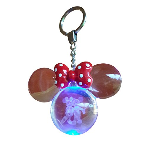 KINGSBALLS K9 Crystal Ball Keychain Key Holder Ring Night Light For Kids Mickey Mouse And Minnie Mouse 3D Laser Engrave   With 7 Color LED Perfect Gift Idea   100% Refund