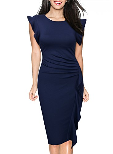 Miusol Women's Retro Ruffles Cap Sleeve Slim Business Pencil Cocktail Dress,Navy Blue,Large