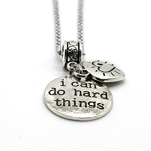Stainless Steel Charms Inspiration Necklace, I Can Do Hard Things, Handmade in USA DN07