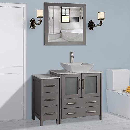 Vanity Art 42 inch Single Sink Bathroom Vanity Combo Set 5-Drawers, 1-Shelf, 2 Cabinet White Quartz Top and Ceramic Sink Bathroom Cabinet with Free Mirror – VA3130-42-G