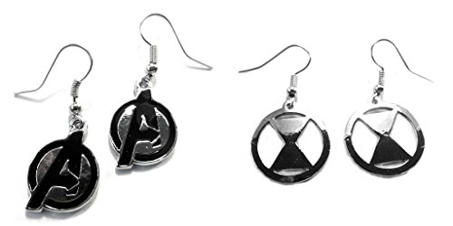 Avenger Logo and Silver Black Widow Dangle Earrings w/Gift Box (Black Widow From Avengers Costume)