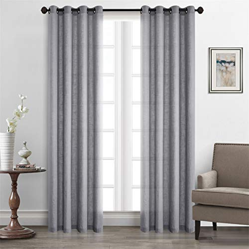 (Dreamig Casa Solid Faux Linen Room Darkening Curtains Grommet Top Dove Gray Draperies (2 Panels, 52''W x 96''L))