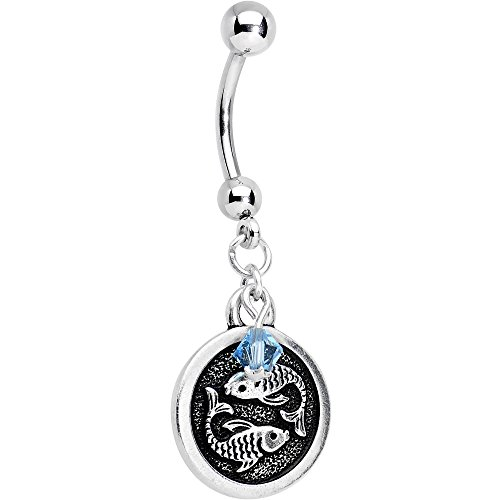 Body Candy Handcrafted Steel Zodiac Pisces Dangle Belly Ring Created with Swarovski Crystals