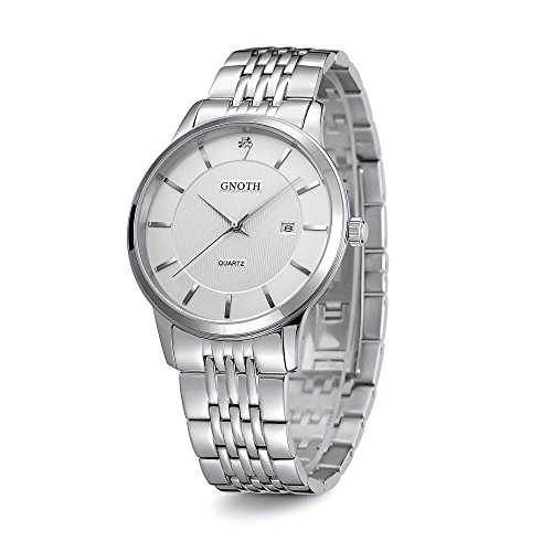 (GNOTH 40mm Case Silver Stainless Steel Band Quartz Water Resistant Watch with Date Calendar for Men)