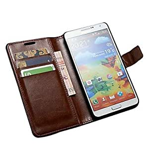 Purchase Luxury Wallet Cover with Card Holder with Stand Leather Case for Galaxy Note 3 III N9000 , Brown