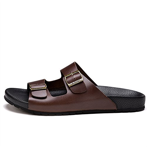 De Mules Sandales Cuir Insun Boucle Adulte Vachette Foncé Chaussures Marron Réglable Avec 7Z4n4qwIxf