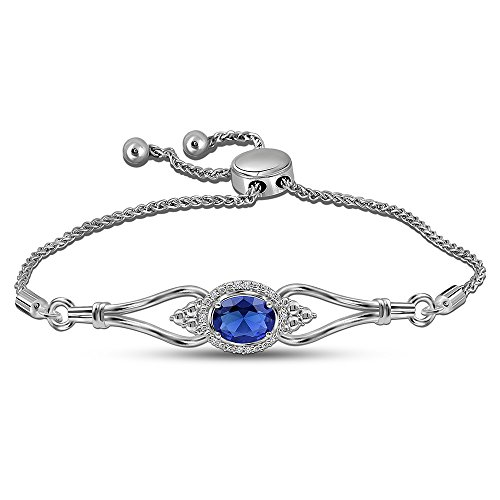 Sapphire Accent Bracelet Diamond - La Joya 0.05ct Round White Diamond Created Blue Sapphire Sterling Silver Accent Classic Love Adjustable Strand Bolo Bracelet for Women