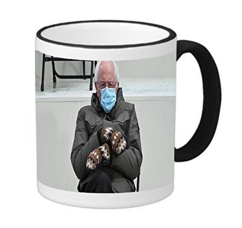 Bernie MeMe Saunders Funny Mittens 11 ounce Black Rim/Handle Ringer Ceramic Coffee Mug Tea Cup by Debbie's Designs