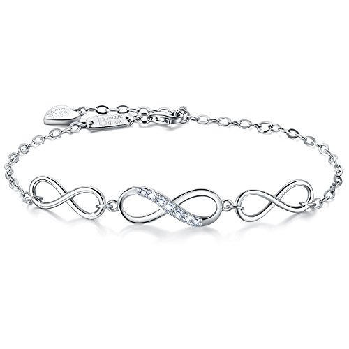 Billie Bijoux Womens 925 Sterling Silver Infinity Endless Love Symbol Charm Adjustable Bracelet White Gold Plated Gift for Graduation Christmas Day ()