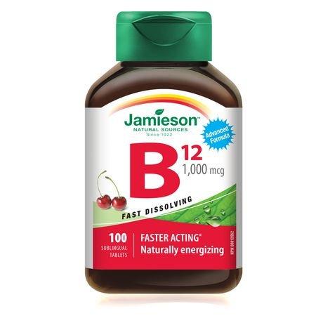 Jamieson Vitamin B12 Methylcobalamin Fast Dissolving Sublingual Tablets, 1,000 mcg, 100 sublingual tablets