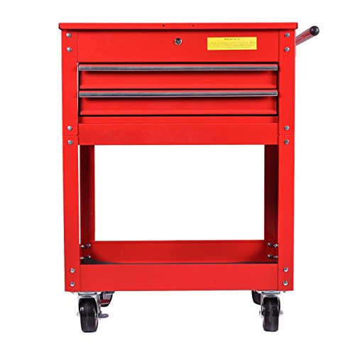 Metal Rolling Tool Cart 2 Drawer Cabinet Storage ToolBox Portable Mechanic Lock by happybeamy