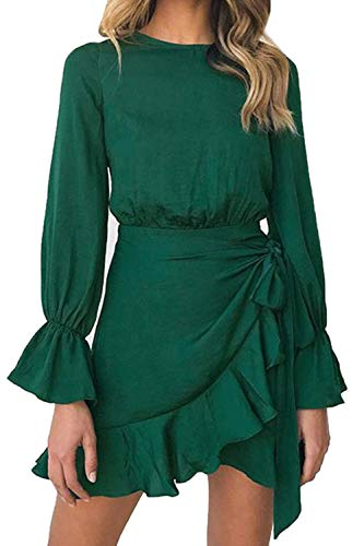 LEISUP Women's Sliming Fit Tie Sleeve Lace Up Flounce Mini Dress Green M