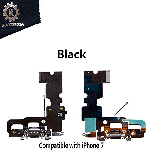 KAKUSIGA Compatible with iPhone 7 Charging Port Dock Connector Flex Cable + Microphone + Headphone Audio Jack Replacement for 7 4.7 (Black)