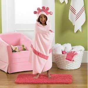 baby-child-jumping-beansr-pink-princess-hooded-bath-towel-with-embroidered-hood-crown-offer-fun-fash