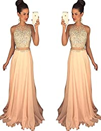 Womens Two Piece Beading Prom Dress Long Formal Evening Party Gown