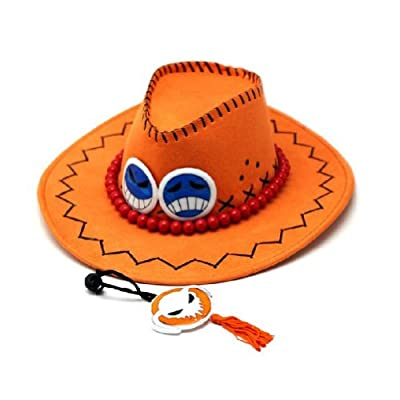 Rulercosplay One Piece Portgas D Ace Cowboy Hat Cosplay Hat + Necklace: Clothing