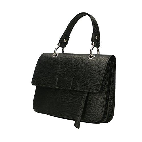 Noir Clutch en Femme véritable à main fabriqué Sac Cm Petit Borse Chicca Italie en cuir 23x17x7 50wnqZE