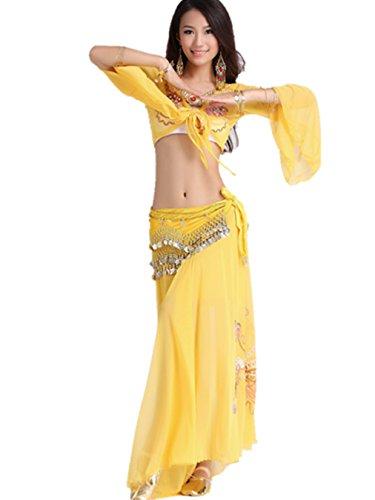 Belly Dancers Dancewear Belly Dance Costume Set Bandage Bra Top + Side Slit Embroidery Skirt + Belly Dance Hip