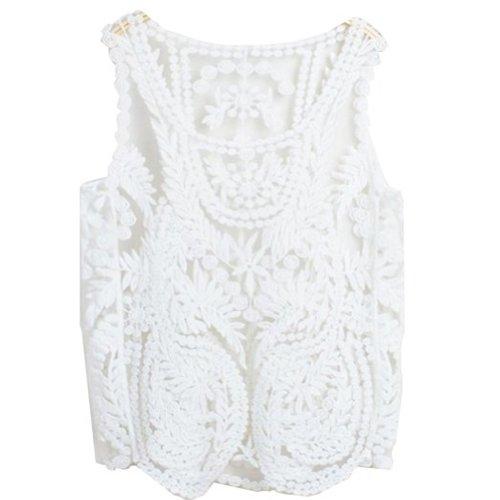 VonFon Women Lace Floral Sleeveless Crochet Knit Vest Tank Top Shirt Blouse White Medium