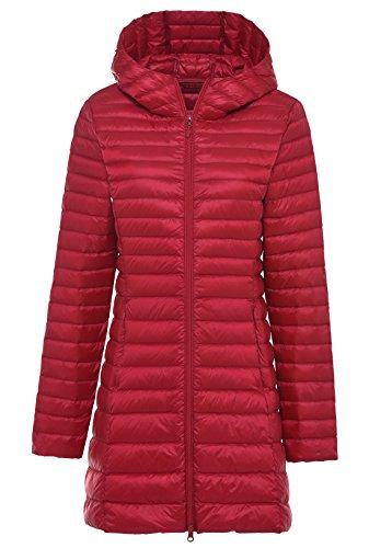 Chouyatou Women's Hooded Full-Zipper Lightweight Packable Down Anoraks Jacket Red
