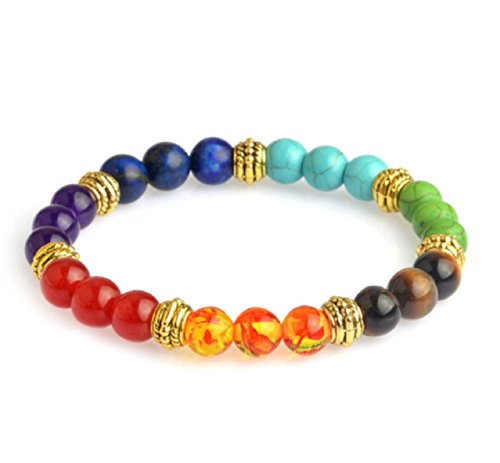 Hot Sale! Tiger Eye Stone Bracelets Multicolor Resin Beads Chakra Energy Wristband Bangles bijoux Rope Chain Women Men Jewelry (Bear Arms Costume)