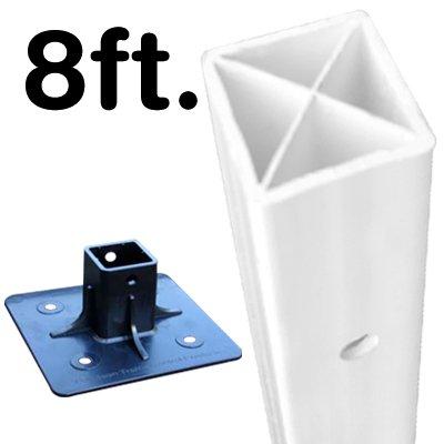 (X-Tube Square White Post with Black Base)