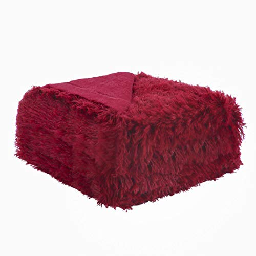 (uxcell Solid Faux Fur Throw Blanket 50