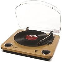 ION Audio Max LP - Giradiscos de tres Velocidades con Altavoces estéreo, Salida USB para Convertir Discos de Vinilo a Archivos Digitales y Salidas RCA y Auriculares Estándar, Acabado en Madeira