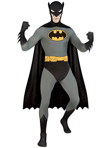 Superhero 2nd Skin Full Body Suit Adult Costume Batman - Black and Grey - Large ()