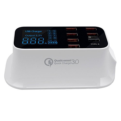 Base de carga rápida Cargador múltiple USB Adaptador de alimentación con pantalla LED de concentrador de carga de 8...