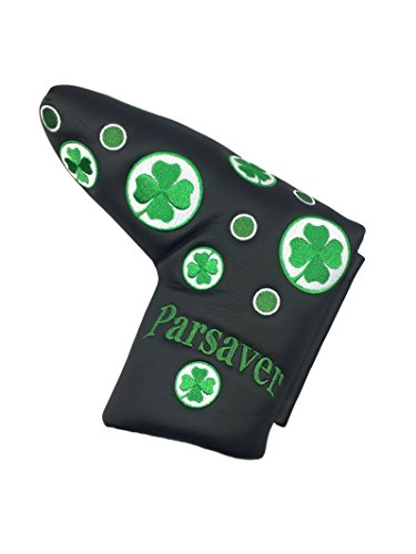 Shamrock Lucky Clover Golf Blade Putter Cover - by Parsaver - Lucky Four Leaf Clover Black Cover for Scotty Cameron Odyssey Taylormade Titleist Ping and Mizuno Putters. A Wonderful Golf Gift (Odyssey 2 Ball Blade Putter Cover)