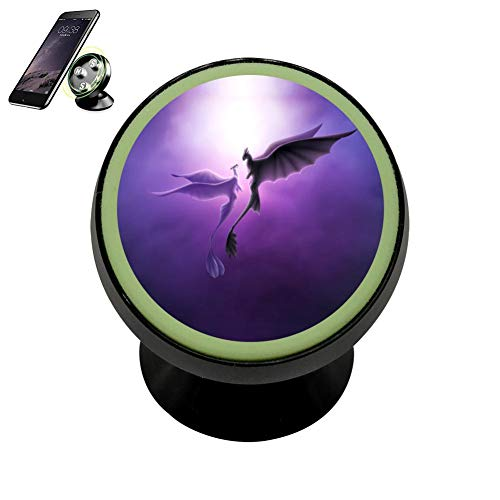 LIHHOLI Purple Romantic Love Dragons Vehicle Phone Mount Magnetic Mobile Phone Car Cradle Stand Dashboard Multi-Function Mounts Holder 360 Universal Noctilucent Kit