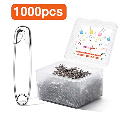 HOUSE DAY Silver Safety Pins Pack of 1000, 1.1 inch Safety Pins Bulk, for Home, Office Use, Sewing Pins, Fabric, Fashion, Craft Pins, Marathon, First Aid Kit, Diaper Pins