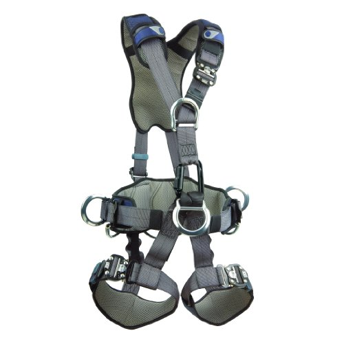 Chest D-rings - 3M DBI-SALA ExoFit NEX 1113346 Full Body Rope Access/Rescue Harness, Alum Back/Front/Suspension D-Rings, Belt w/ Pad/Side D-Rings, Locking QC Leg Straps, Medium, Blue/Grey