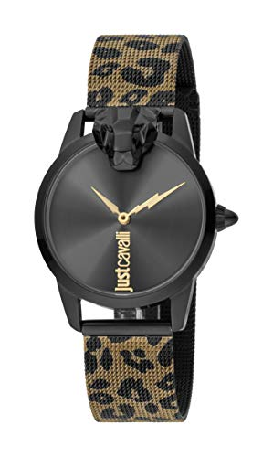 Just Cavalli JC1L057M0315 316L Stainless Steel Mineral Crystal Deployment Buckle Watch